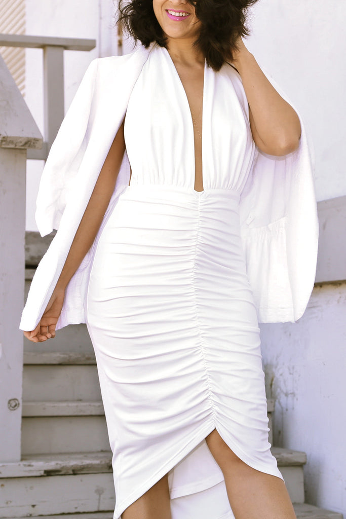 Halter Midi Dress in White
