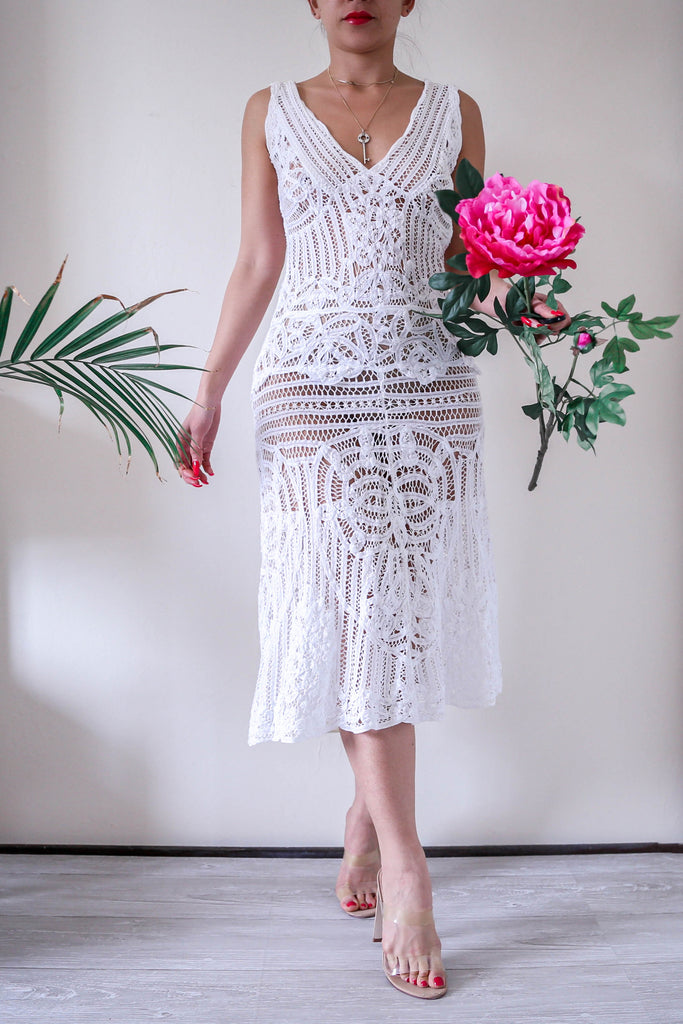 White Lace Midi Flare Dress