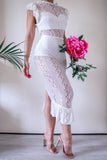 Nasty Gal White Lace Midi Dress with Ruffles