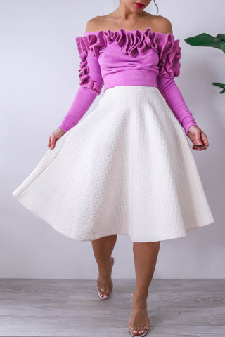 H&M White Ivory Midi Circle Skirt