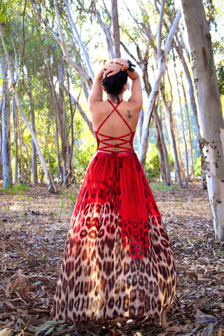 Open Back Maxi Dress in Red Leopard