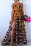 KTR Open Back Yellow Leopard Print Maxi Dress