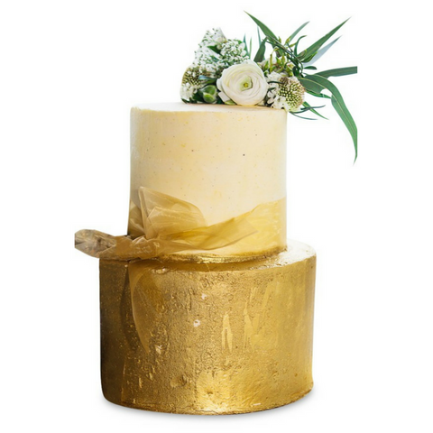Dello Mano Wedding Cake - stacked two tier with gold gilt base