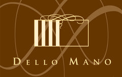 The Dello Mano Logo is brown with white lettering and graphic design. The Dello Mano Logo is a registered Trade Mark.