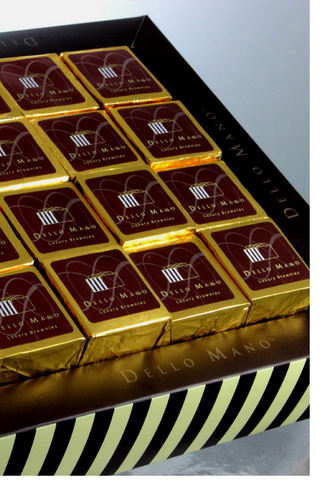 Dello Mano Luxury Brownie Gift Box of foiled Brownie Cubes