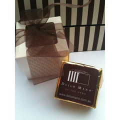 Dello Mano Luxury Belgian Chocolate  Brownie Cube  +  box with ribbon; BULK BUY - Dello Mano