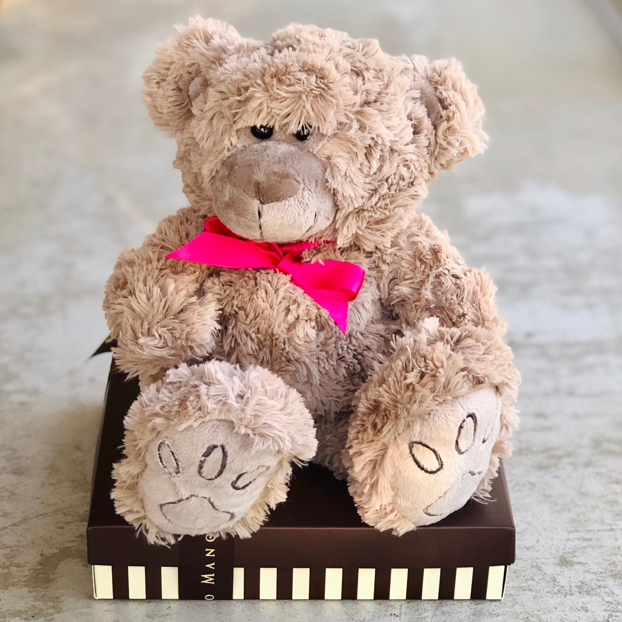 A baby arrival gift delivery of a cuddly teddy bear with pink ribbon on top of Brownie box