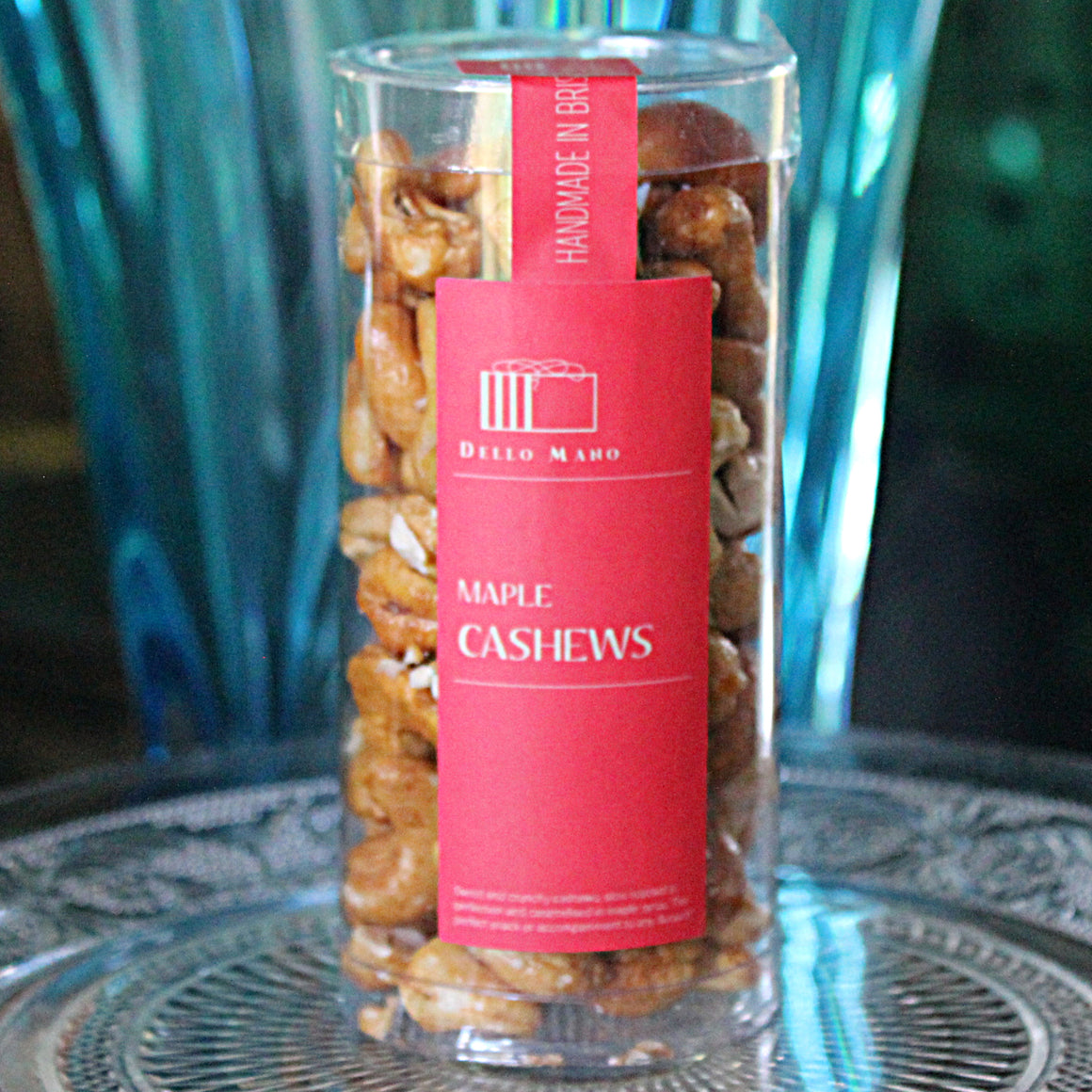 Maple Caramalised Pecans perfect as a little gift, inclusion in a hamper or just a tasty snack. Our Caramalised Cashews are hand caramalised in small batches.