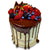 A Fruity Celebration Drip Birthday Cake with chocolate drips and fresh mixed fruits on top