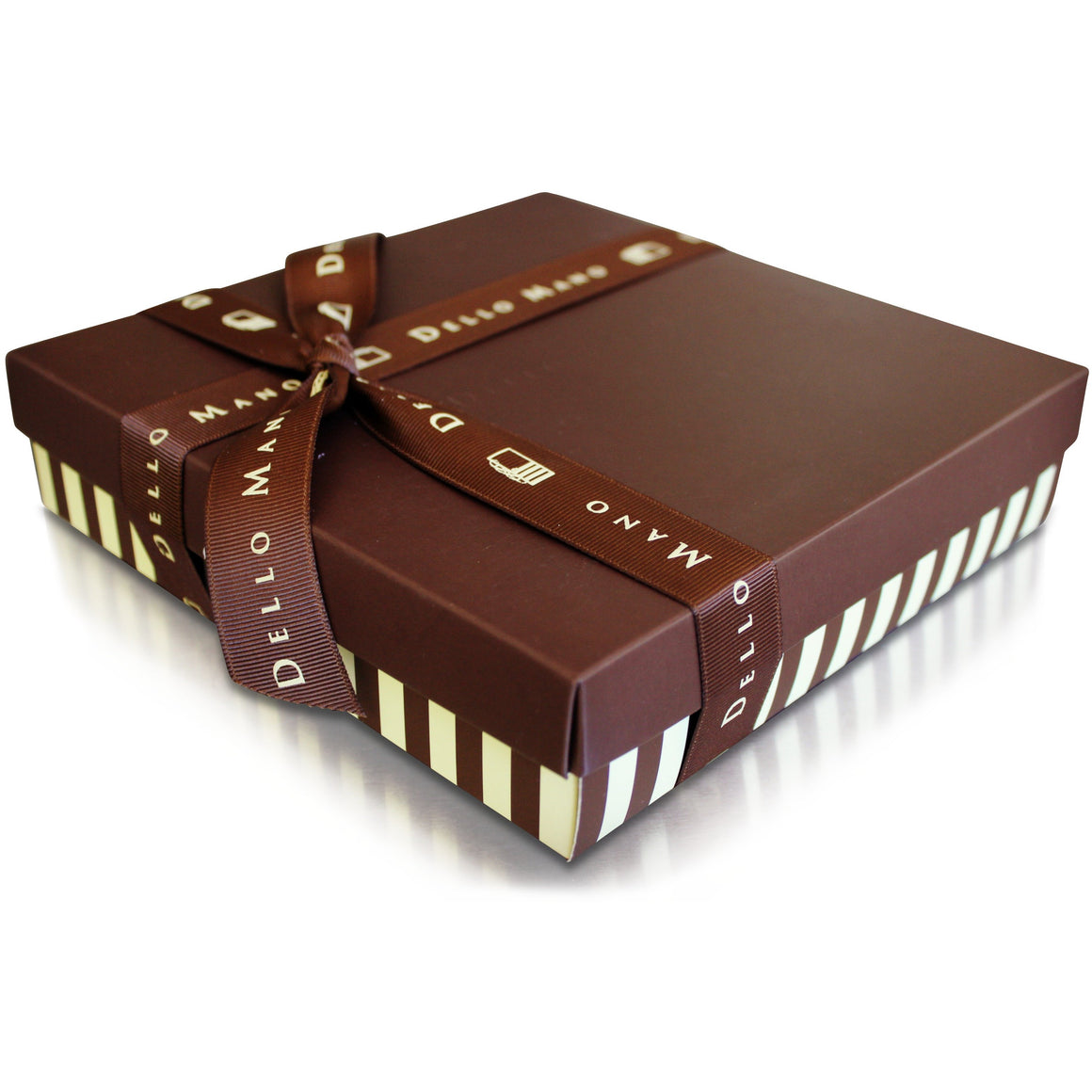 Dello Mano Gift Basket of Luxury Brownies - this box is our Classic. Handmade with Belgian chocolate in small batches this chocolate gift basket led the brownie revolution in 2006