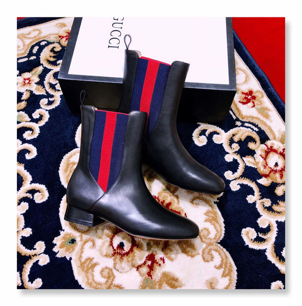 Stripe Leather Ankle Boots