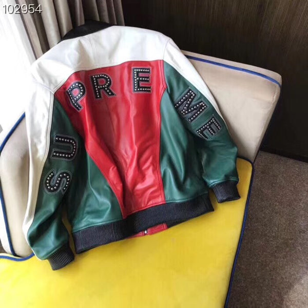 Mens Special Edition SUPREME Leather Jacket