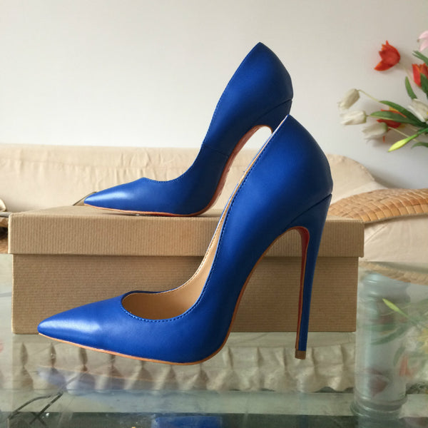 Matte Blue 120mm Pumps