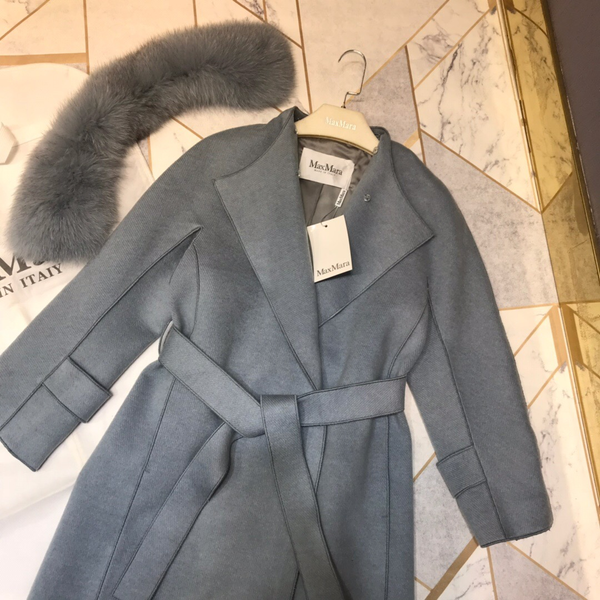Luxurious Fox Fur Wool Coat
