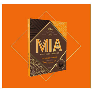MIA Food with Thought candied orange dark chocolate