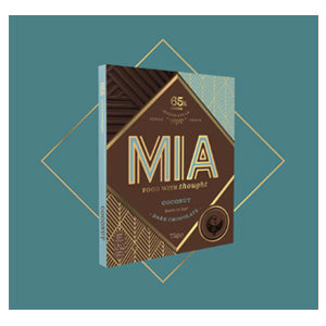 MIA Food with Thought coconut dark chocolate