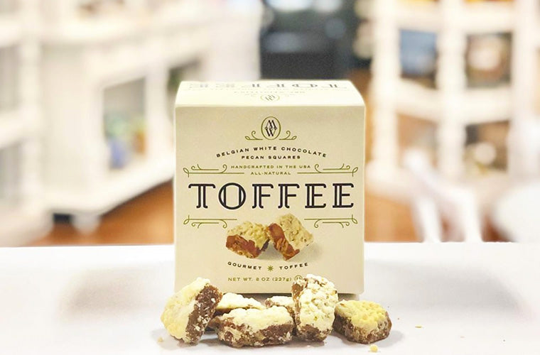 Mrs. Weinstein's Toffee Belgian White Chocolate Pecan Toffee Squares