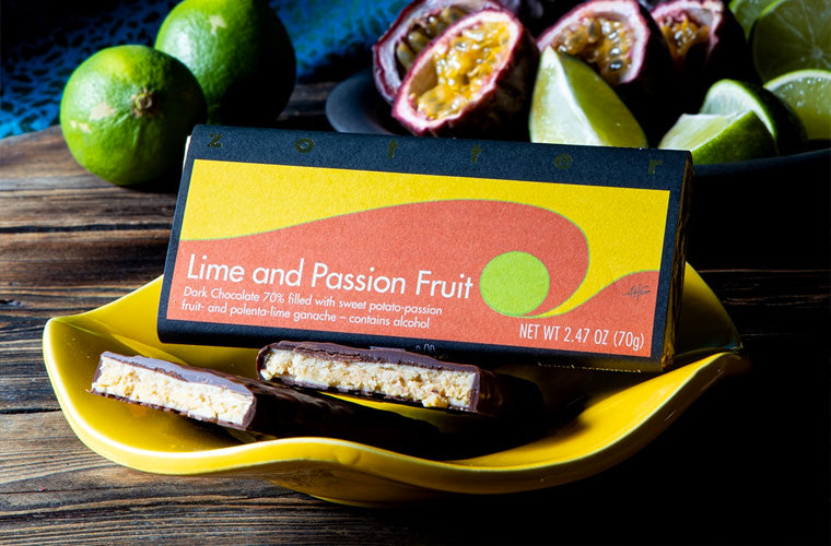 Zotter Chocolate lime and passion fruit bar