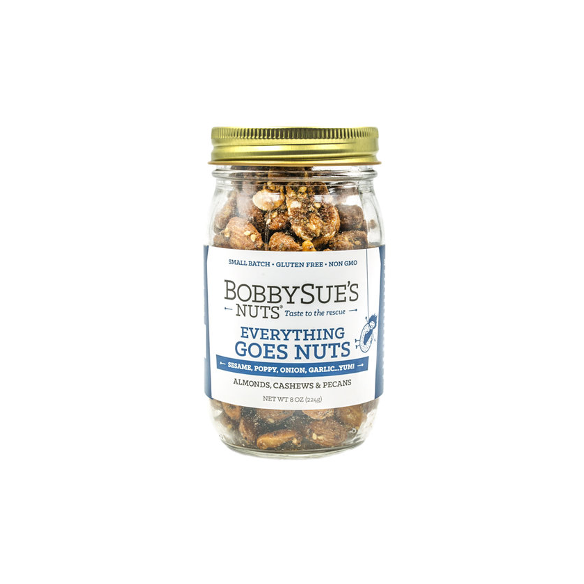 BobbySue's Nuts Everything Goes Nuts Jar - Roasted Mixed Nuts 8oz