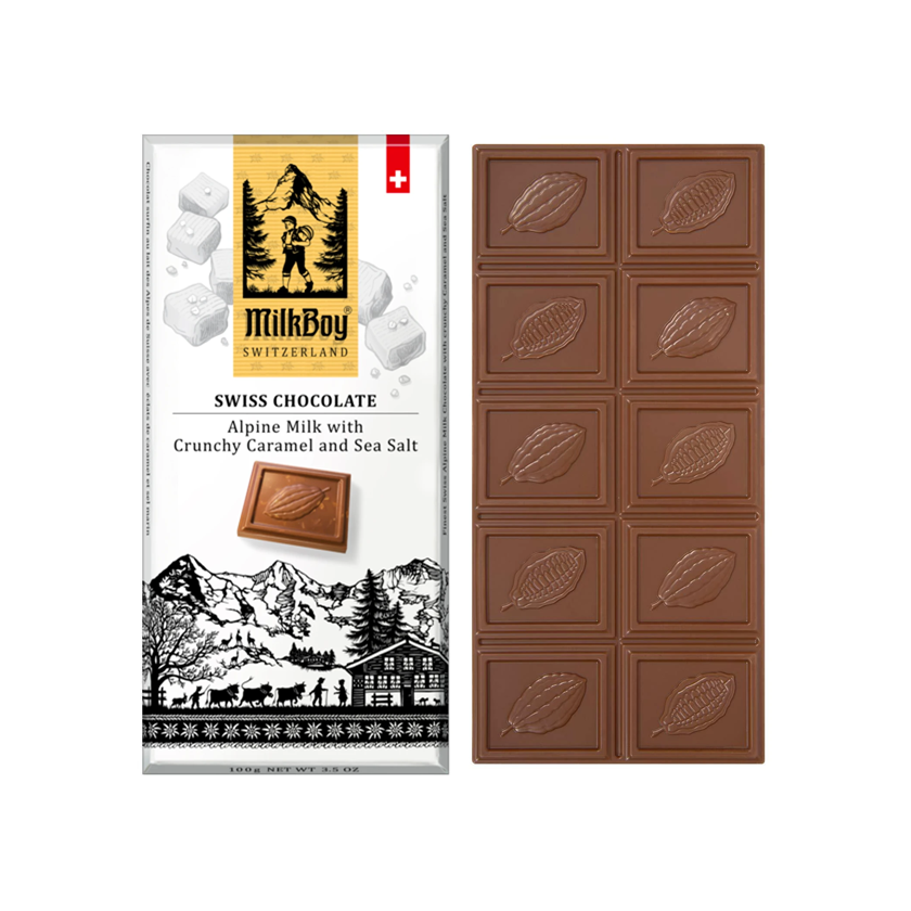 MilkBoy Swiss Chocolates Alpine Milk with Crunchy Caramel & Sea Salt