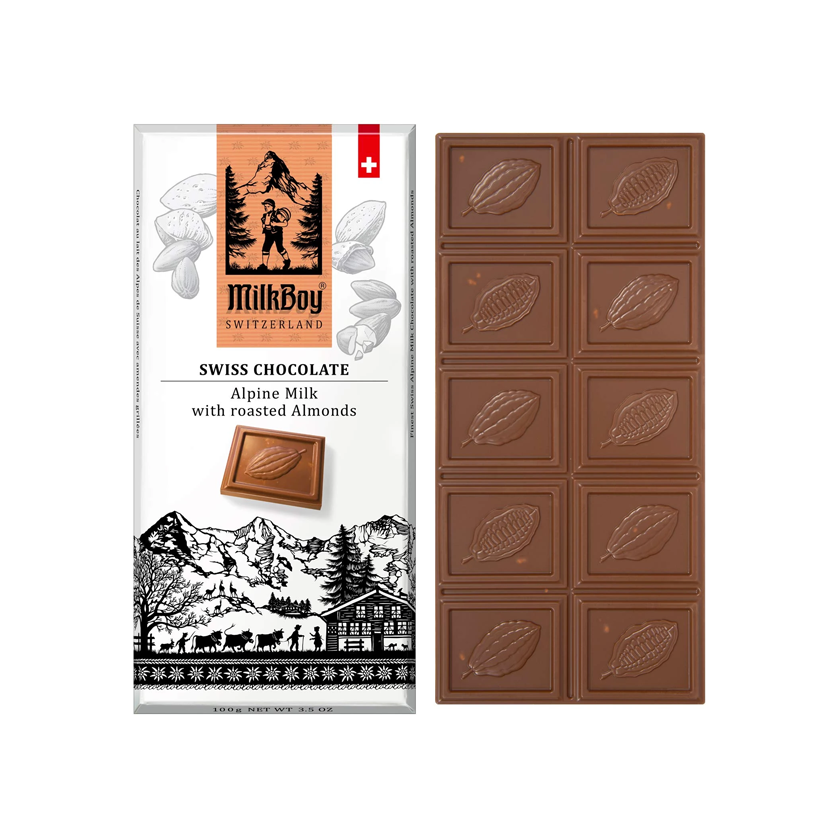 MilkBoy Swiss Chocolates Alpine Milk with Roasted Almonds
