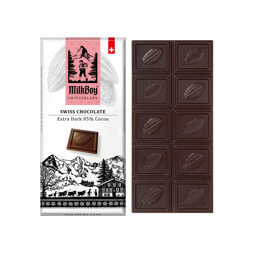 MilkBoy Swiss Chocolates Extra Dark 85% Cocoa