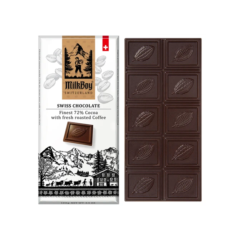 MilkBoy Swiss Chocolates Finest 72% Dark Chocolate with Fresh Roasted Coffee
