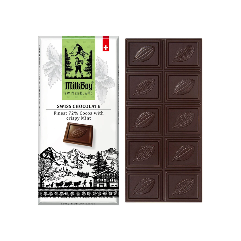 MilkBoy Swiss Chocolates Finest 72% Dark Chocolate with Crispy Mint