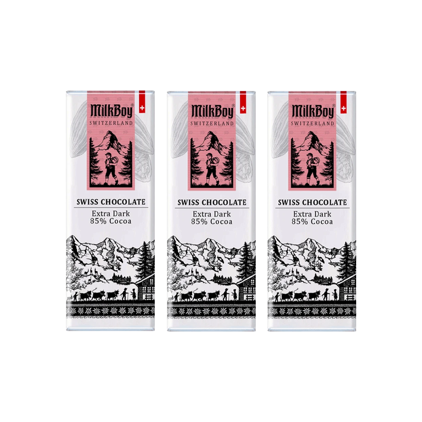MilkBoy Swiss Chocolates Mini Alpine Dark Chocolate 85% Cocoa - 10 Bars