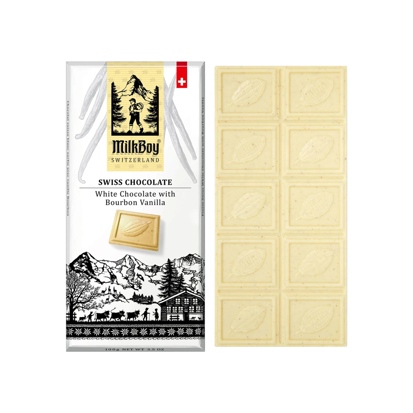 MilkBoy Swiss Chocolates White Chocolate with Bourbon Vanilla