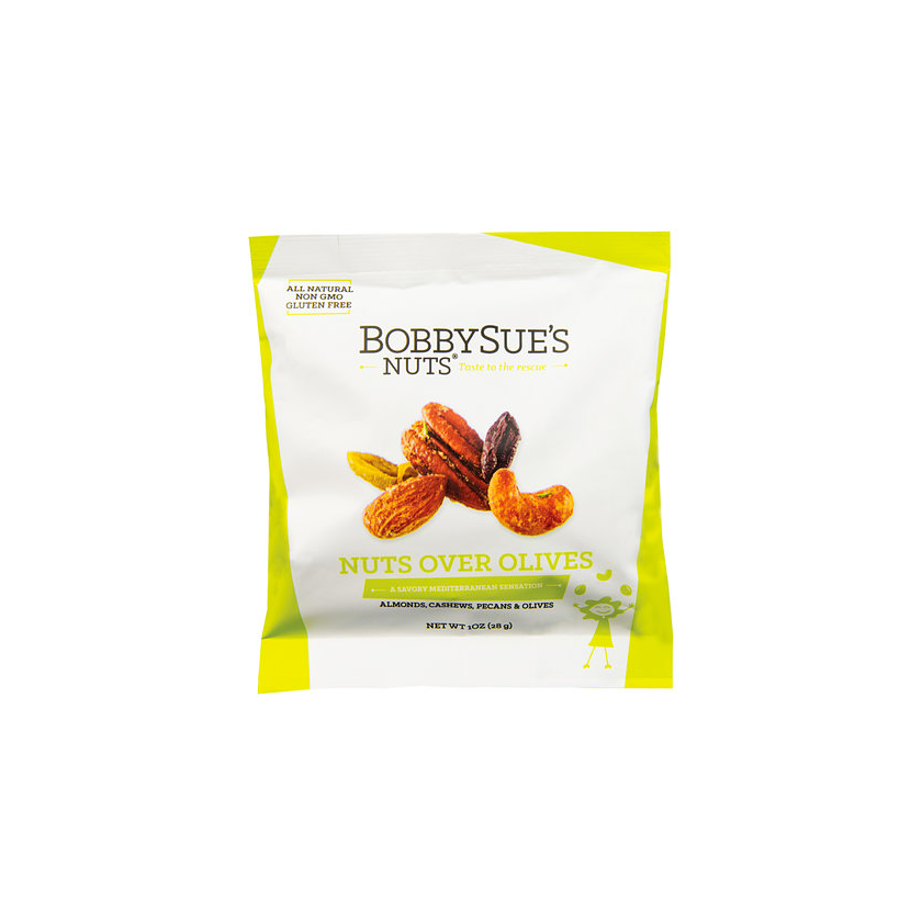 BobbySue's Nuts Nuts Over Olives Snack Pack - Roasted Mixed Nuts 1oz
