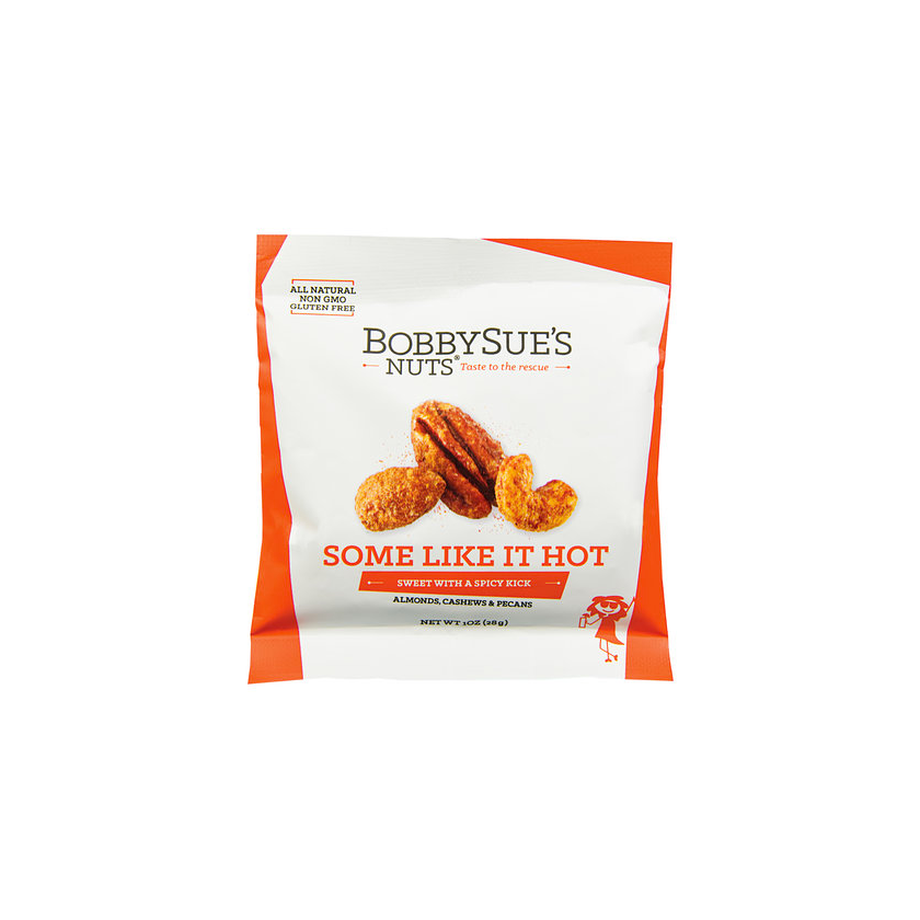 BobbySue's Nuts Some Like It Hot Snack Pack - Roasted Mixed Nuts 1oz