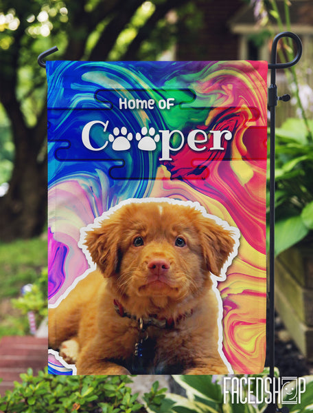 Pet Photo and Name on Garden Flag Red Yellow Blue Swirl-FacedShop