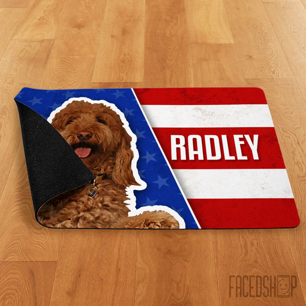 Pet Photo and Name on a Mat American Flag-FacedShop