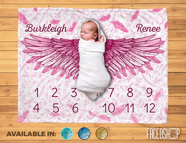 Give The Angel Some Wings - Personalized Monthly Milestone Baby Blanket - Feathers and Wings-FacedShop