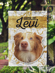 Pet Photo and Name on Garden Flag Yellow Faux Glitter-FacedShop