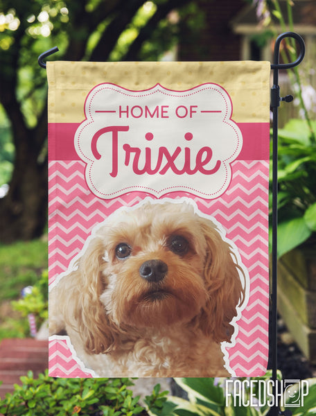 Pet Photo and Name on Garden Flag Pink Chevron-FacedShop
