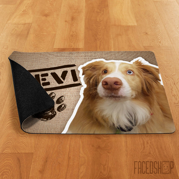 Pet Photo and Name on a Mat Burlap-FacedShop