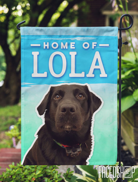 Pet Photo and Name on Garden Flag Blue Green Rush-FacedShop