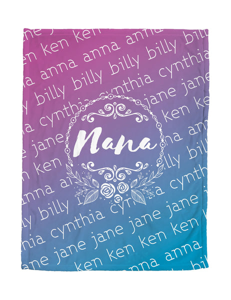 Love You Nana - Aqua Purple Flower - Personalized Grandparent Blanket with Grandchildren's Names-FacedShop