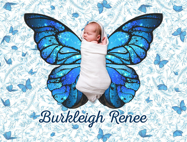 Butterfly Wings Design 1 Personalized Baby Blanket-FacedShop