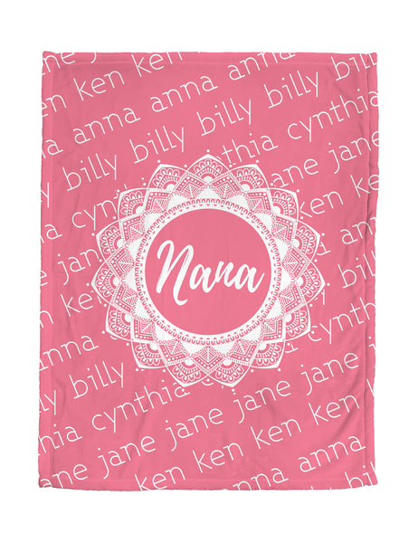 Love You Nana - Pink Mandala - Personalized Grandparent Blanket with Grandchildren's Names-FacedShop