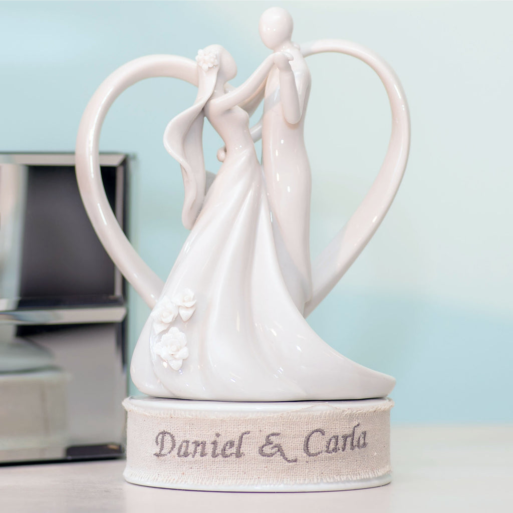 Personalized Embroidery Stylized Heart Dancing Wedding Cake Topper