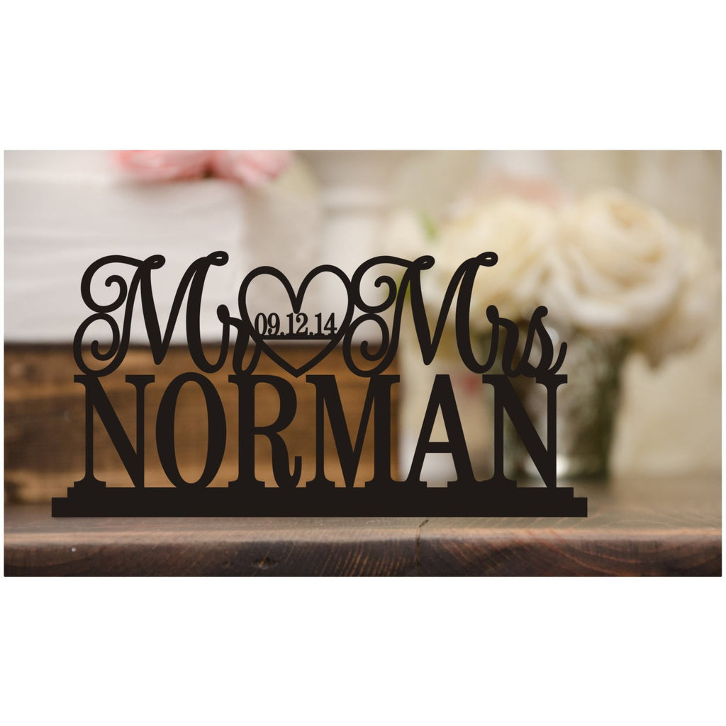 Custom Wedding Table wit Sign h Your Last Name and Wedding Date - Wedding Cake Table Sign