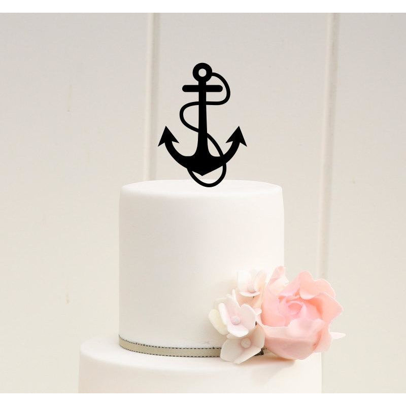 Anchor with Rope Wedding Cake Topper - Nautical Beach Cake Topper