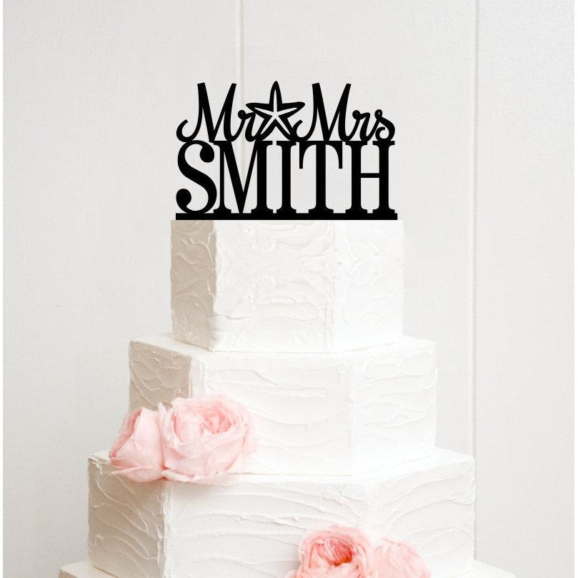 Starfish Beach Wedding Cake Topper Mr And Mrs Topper Design With Your Last Name