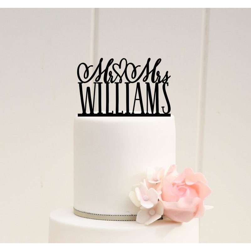 Personalized Mr and Mrs Heart Wedding Cake Topper
