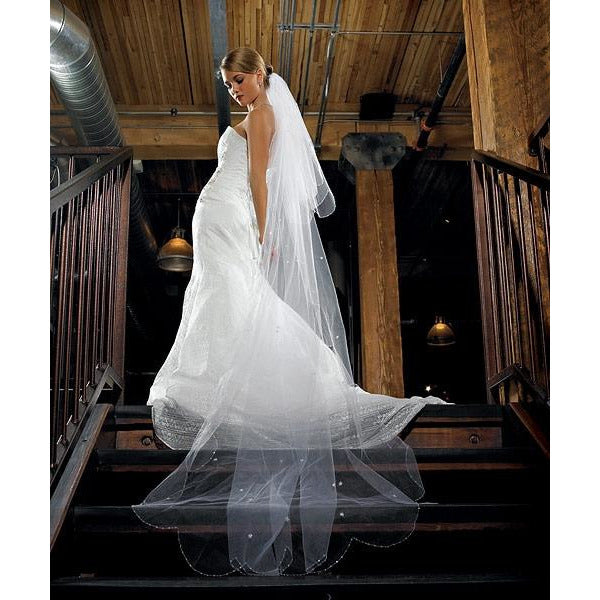2-Tier White Standard Tulle Veil - Floor Length