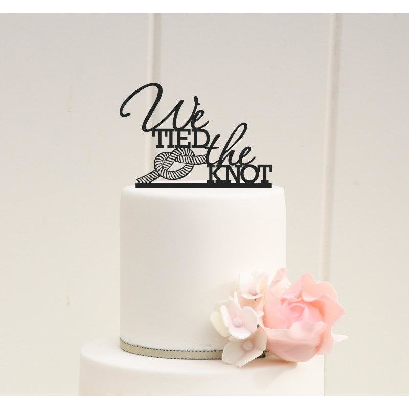 We Tied The Knot Wedding Cake Topper - Nautical Beach Cake Topper