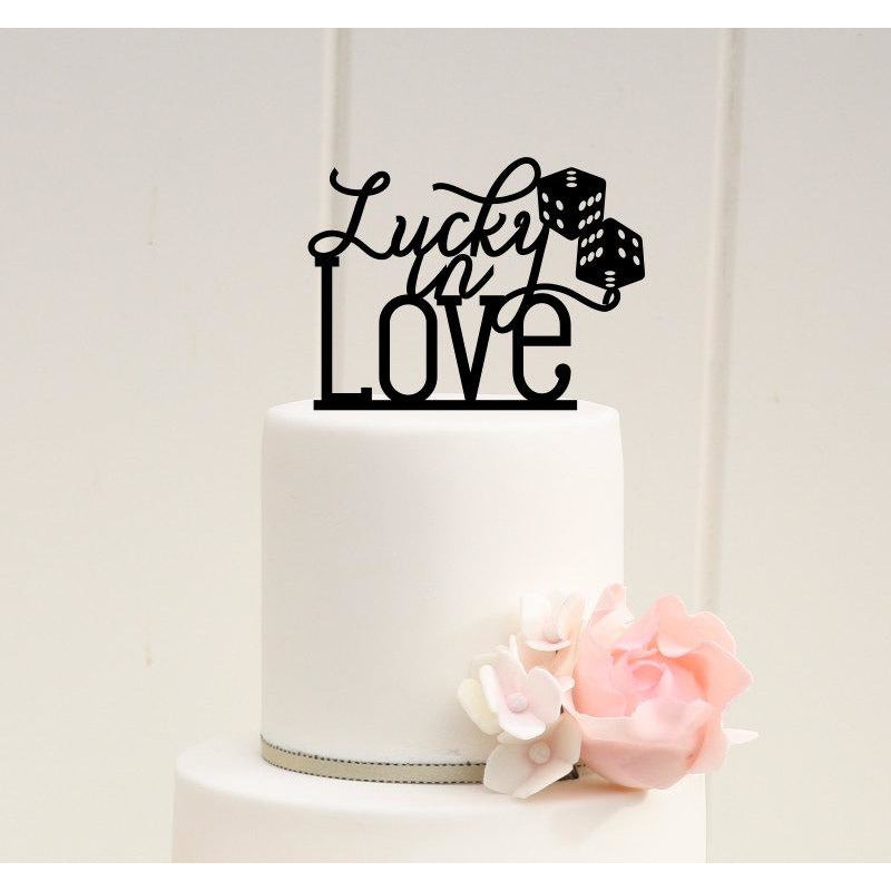 Lucky in Love with Dice Wedding Cake Topper - Las Vegas Cake Topper